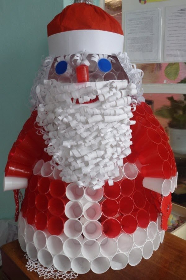 новогодние поделки из пластиковых стаканчиков фото этой статье