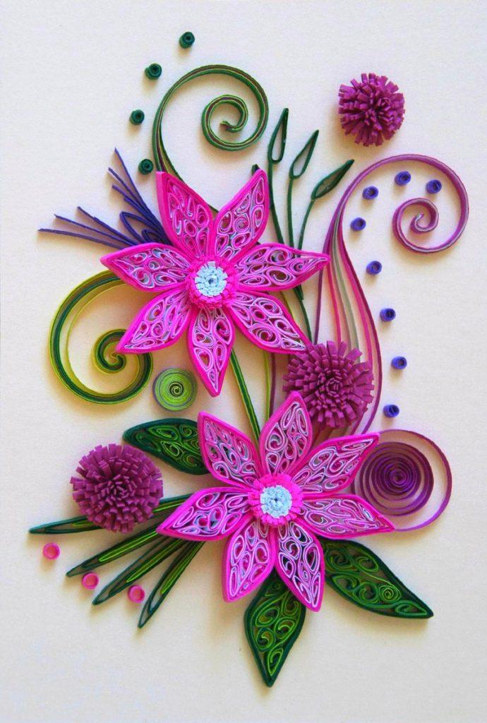 цветы в технике квиллинг для открытки своими руками вещи